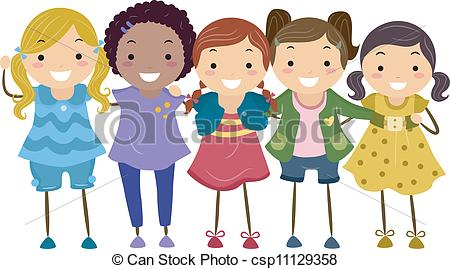 Girls clipart. Group of