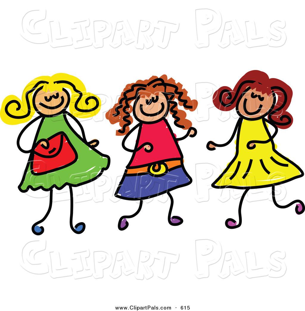 Girls clipart. Clip art free panda