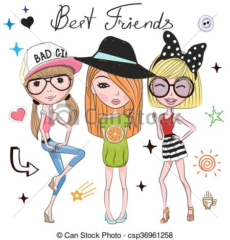 Girls clipart. Three drawing at getdrawings