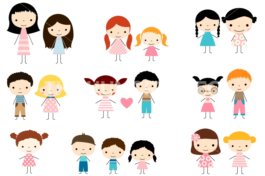 Girls clipart. Cute multicultural children stick