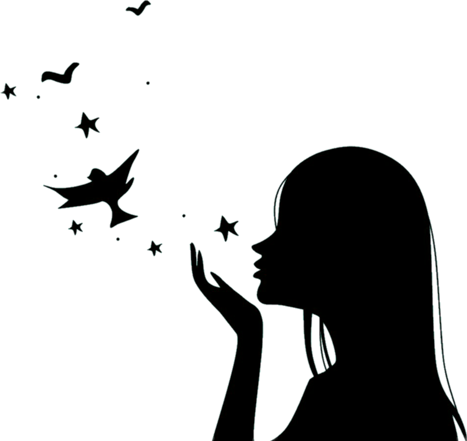 Silhouette girl birds pretty. Girls clipart bird