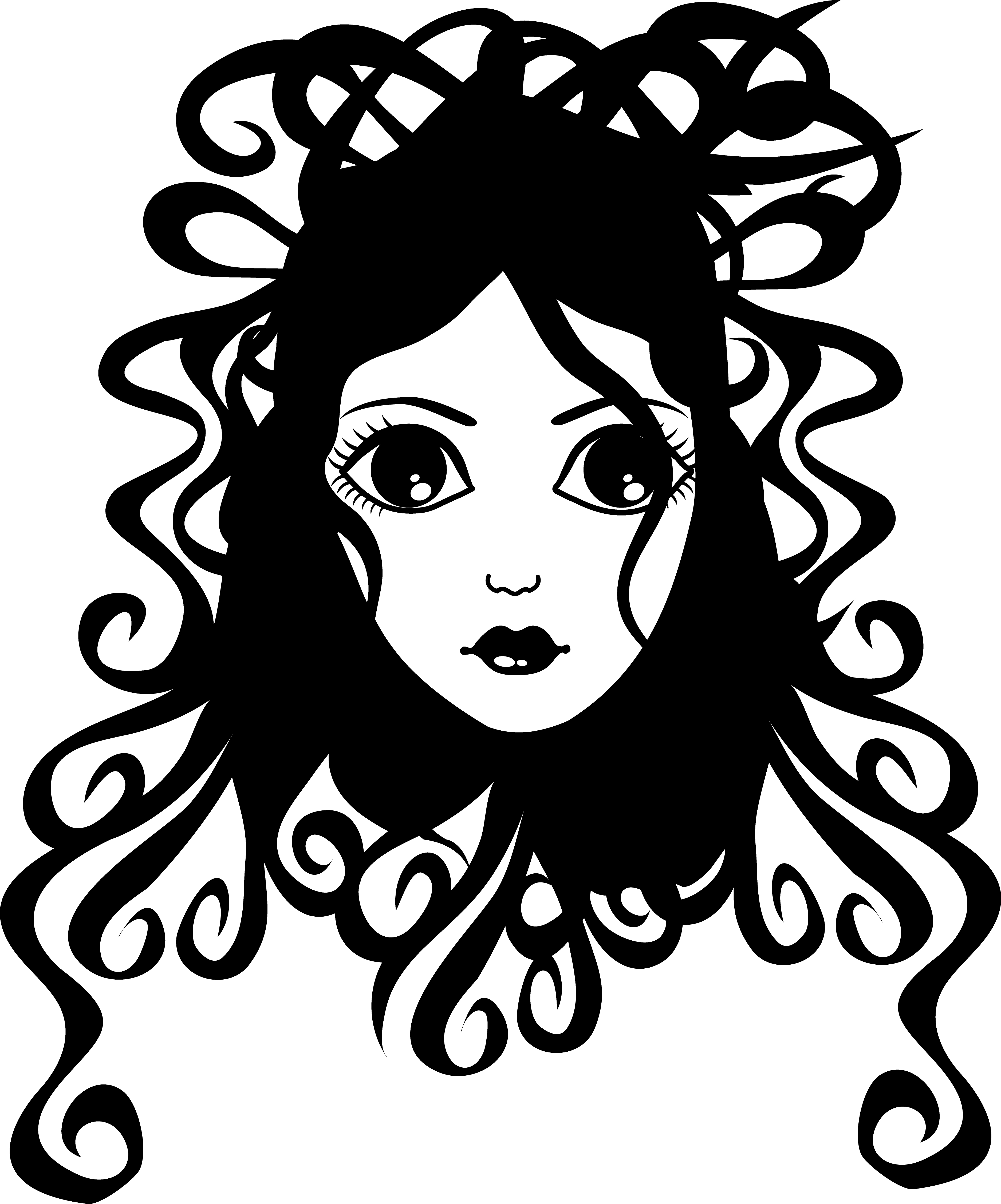 Pretty curly haired girl. Wet clipart wig