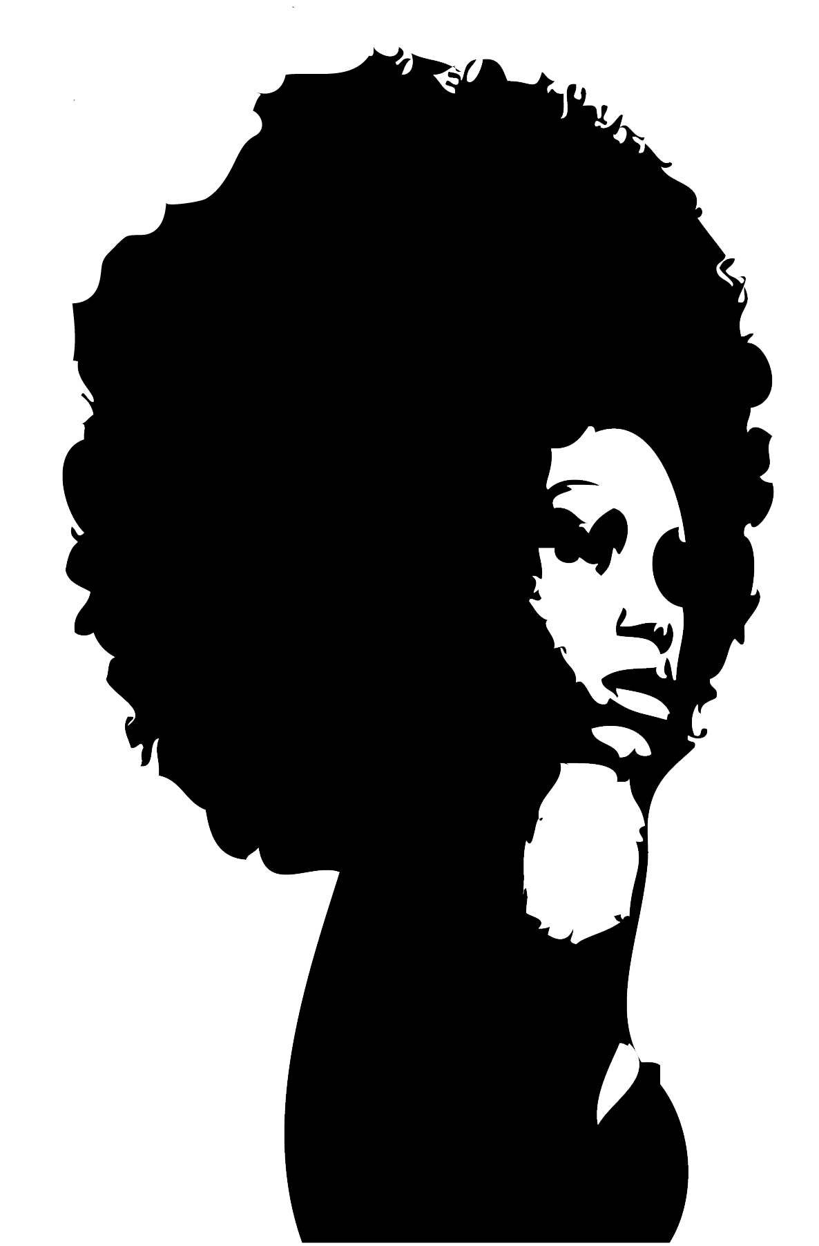 Queen clipart afro. Curly silhouette at getdrawings
