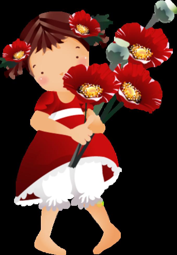 Pin by marii dolls. Girls clipart flower