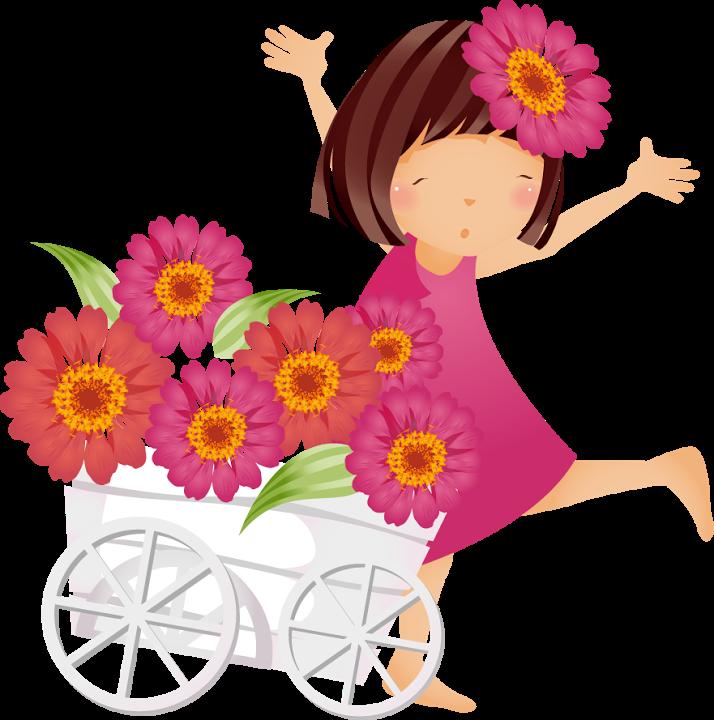 Boneca imagens pinterest girl. Girls clipart flower
