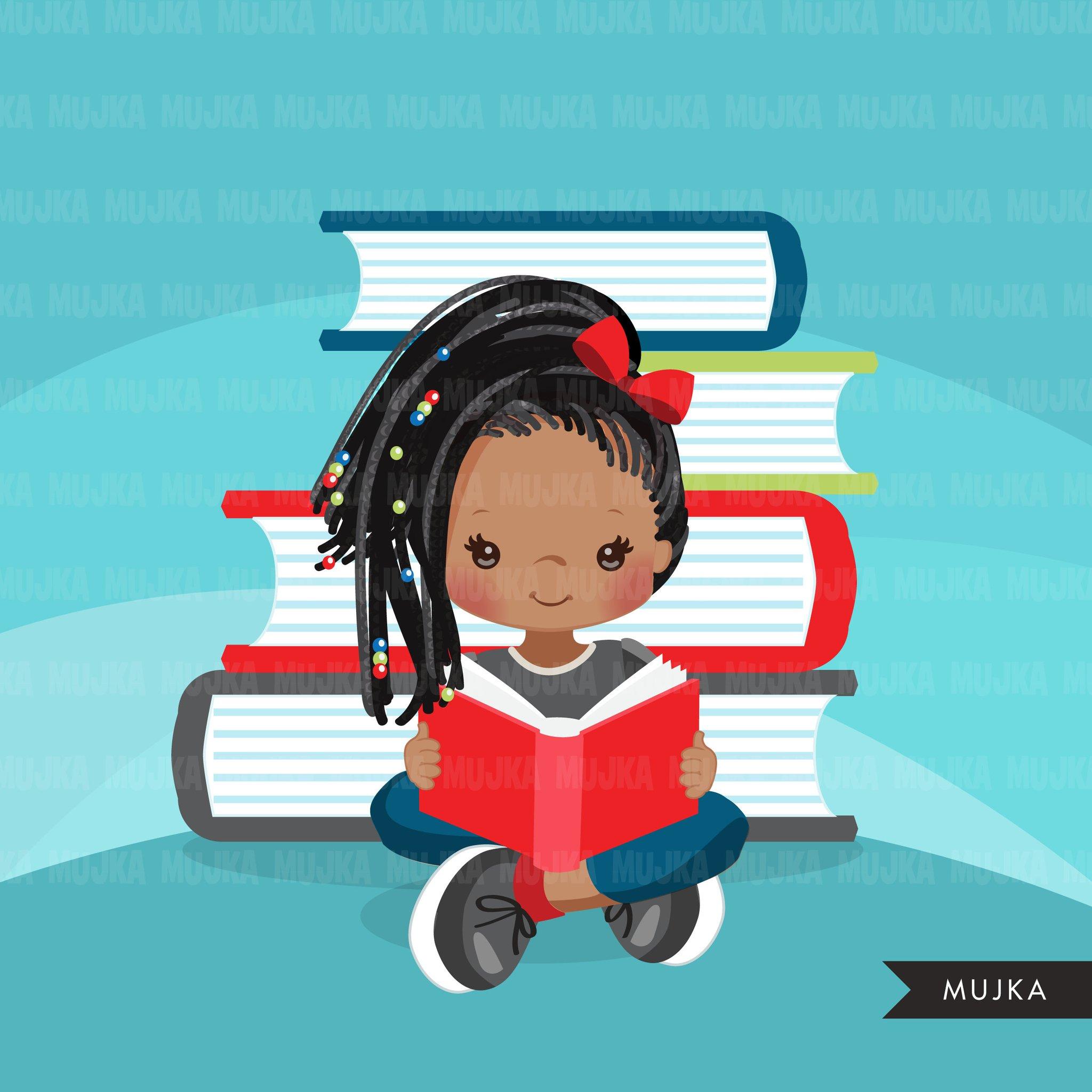 Reading school activity student. Girls clipart homework