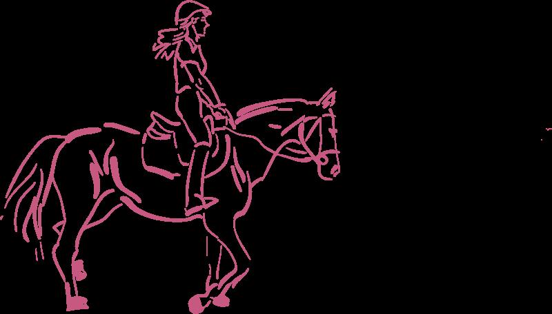 Girl a horse medium. Girls clipart horseback riding