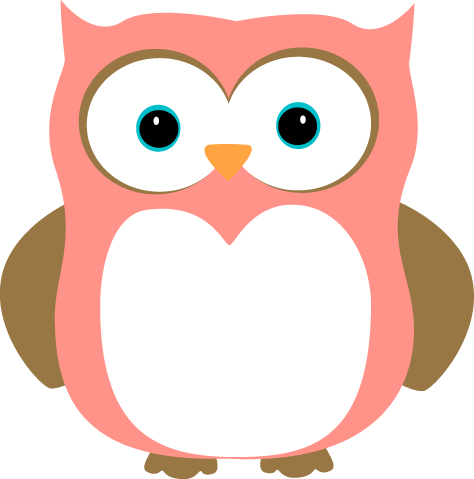 Cute pink and clip. Owls clipart brown owl