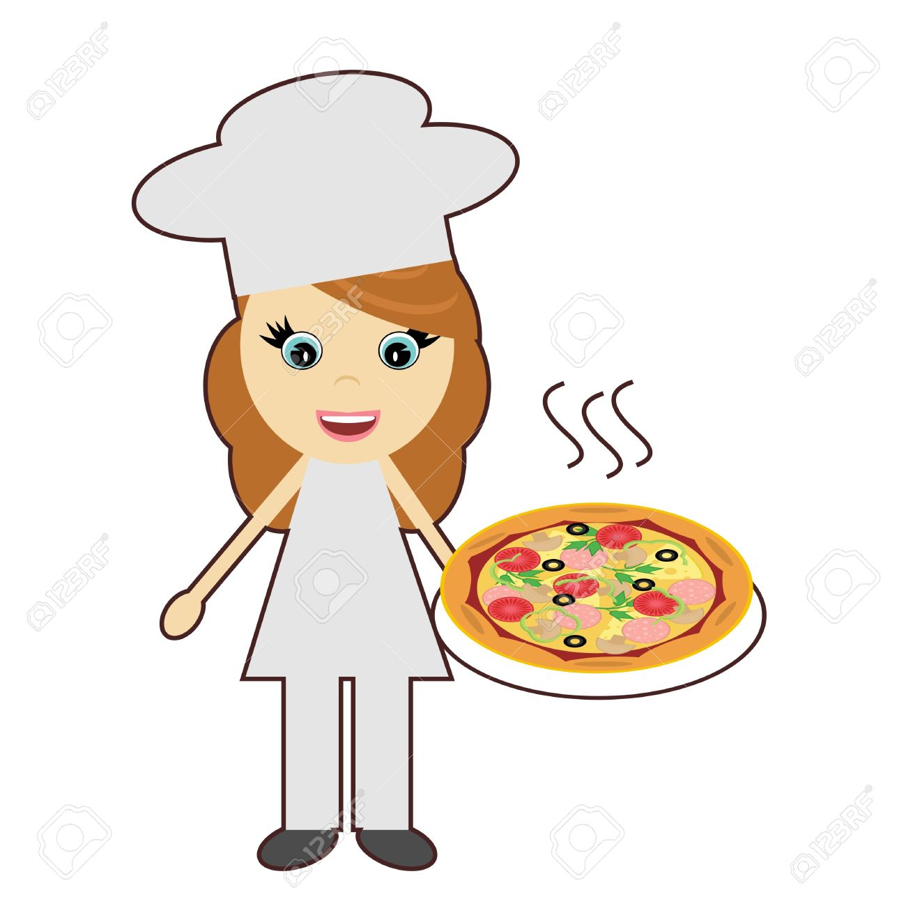 Girl chef free download. Lady clipart pizza
