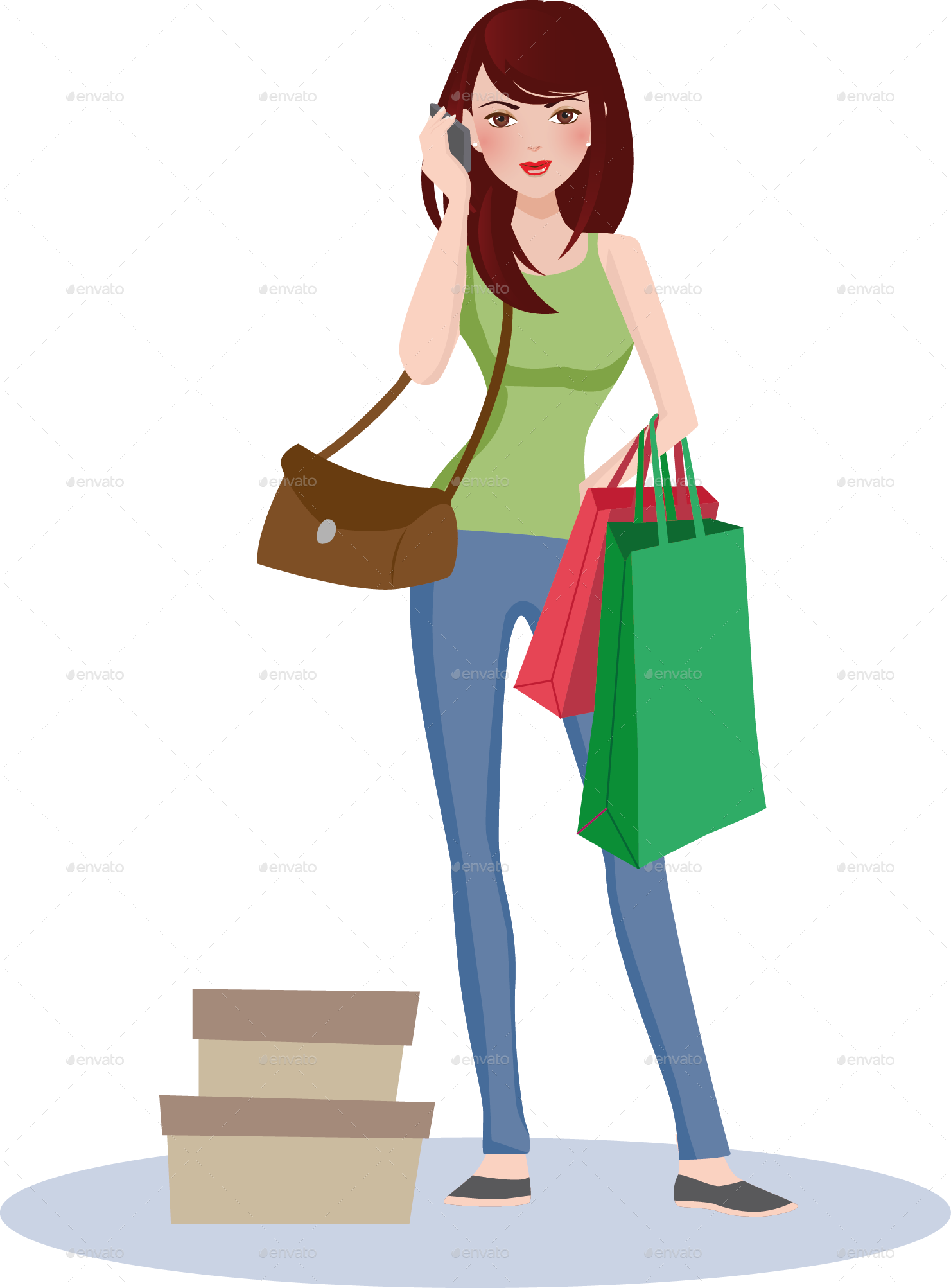 Girl by nael graphicriver. Phone clipart shopping