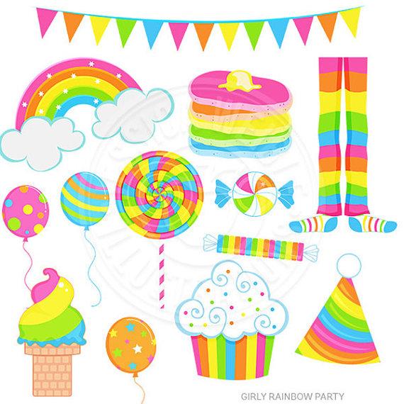 Rainbow party cute digital. Girly clipart