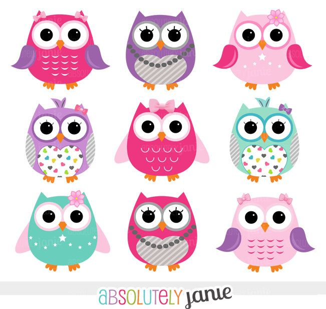 Pink purple owls digital. Girly clipart