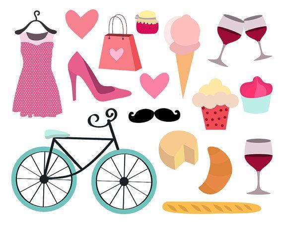 Girly clipart. Paris feminine bike by