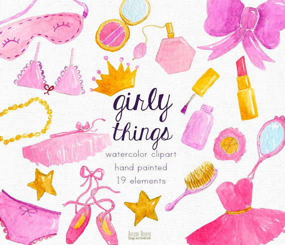 Watercolor girl pink clip. Girly clipart