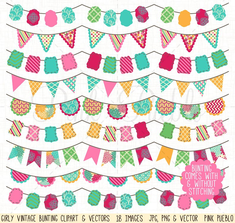 Bunting clip art vectors. Girly clipart