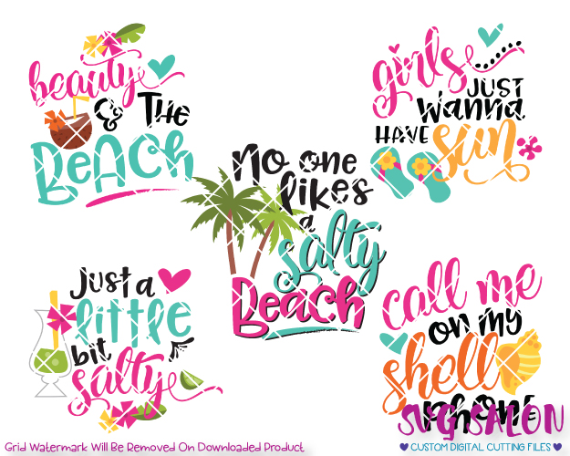 Girly clipart beach. Bundle cut file set