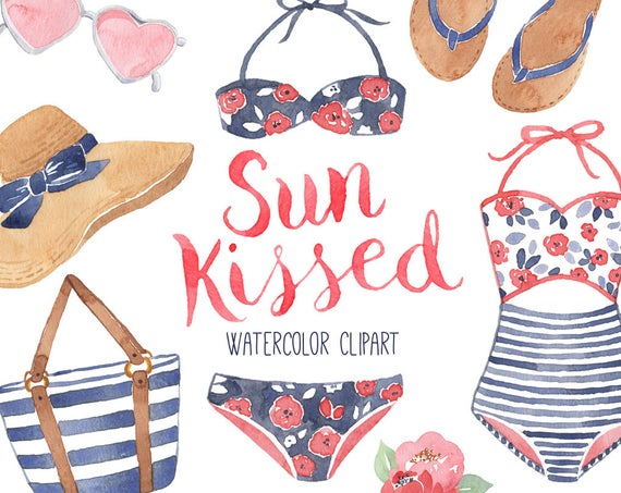Summer fashion watercolor style. Girly clipart beach