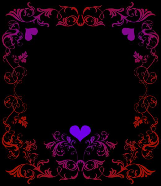 Girly clipart border. Design hearts red purple