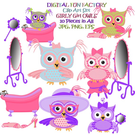 Girly clipart cute. Owl clip art digital