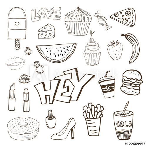 Girly clipart doodle. Isolated elements with sweets