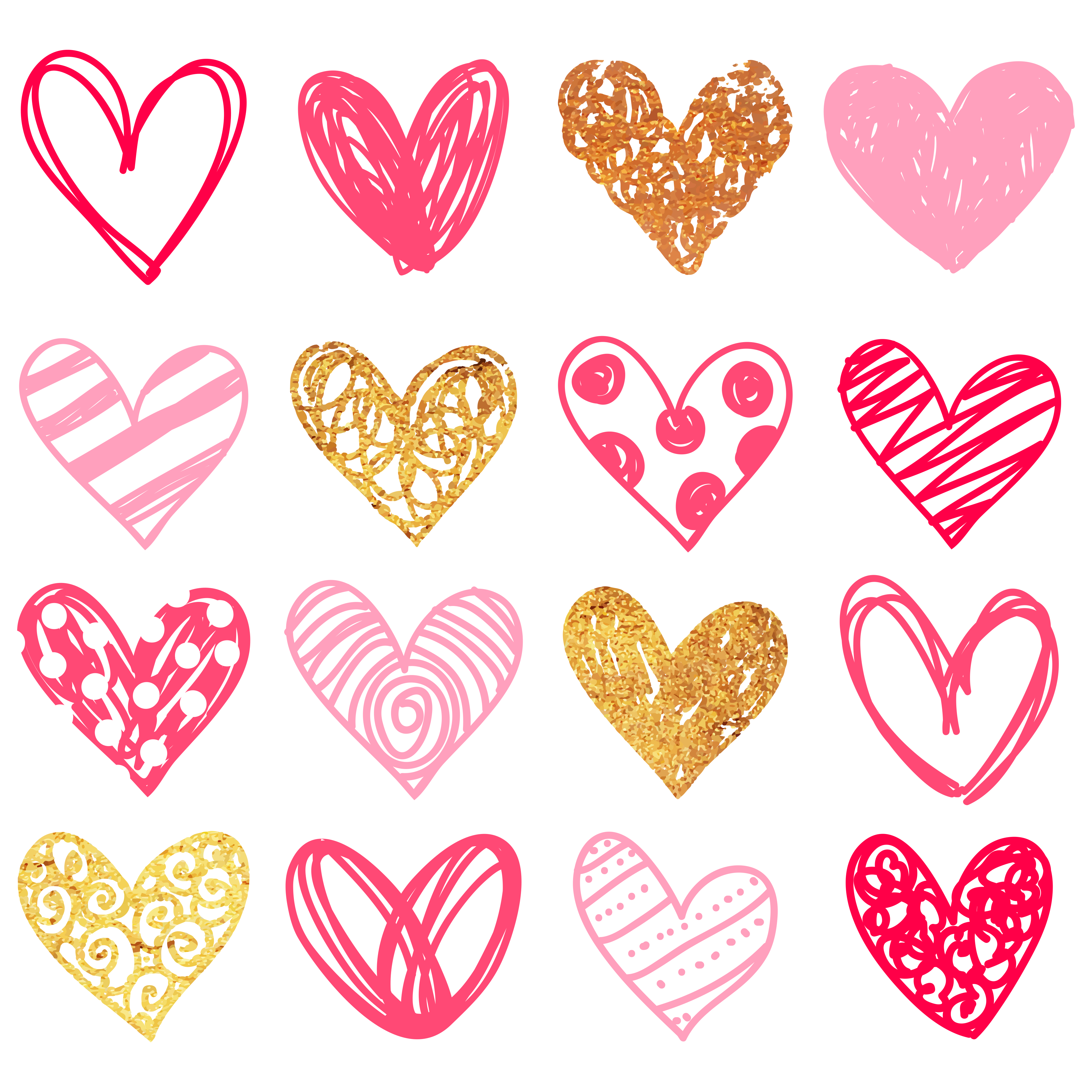 collection of doodle. Hearts clipart vine