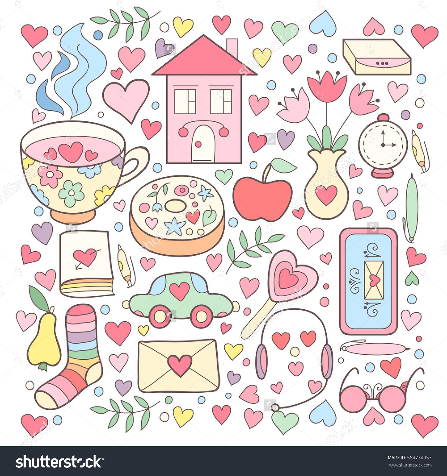 Vector cute collection of. Girly clipart girly stuff