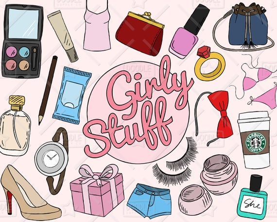 Girly clipart girly stuff. Vector pack things makeup