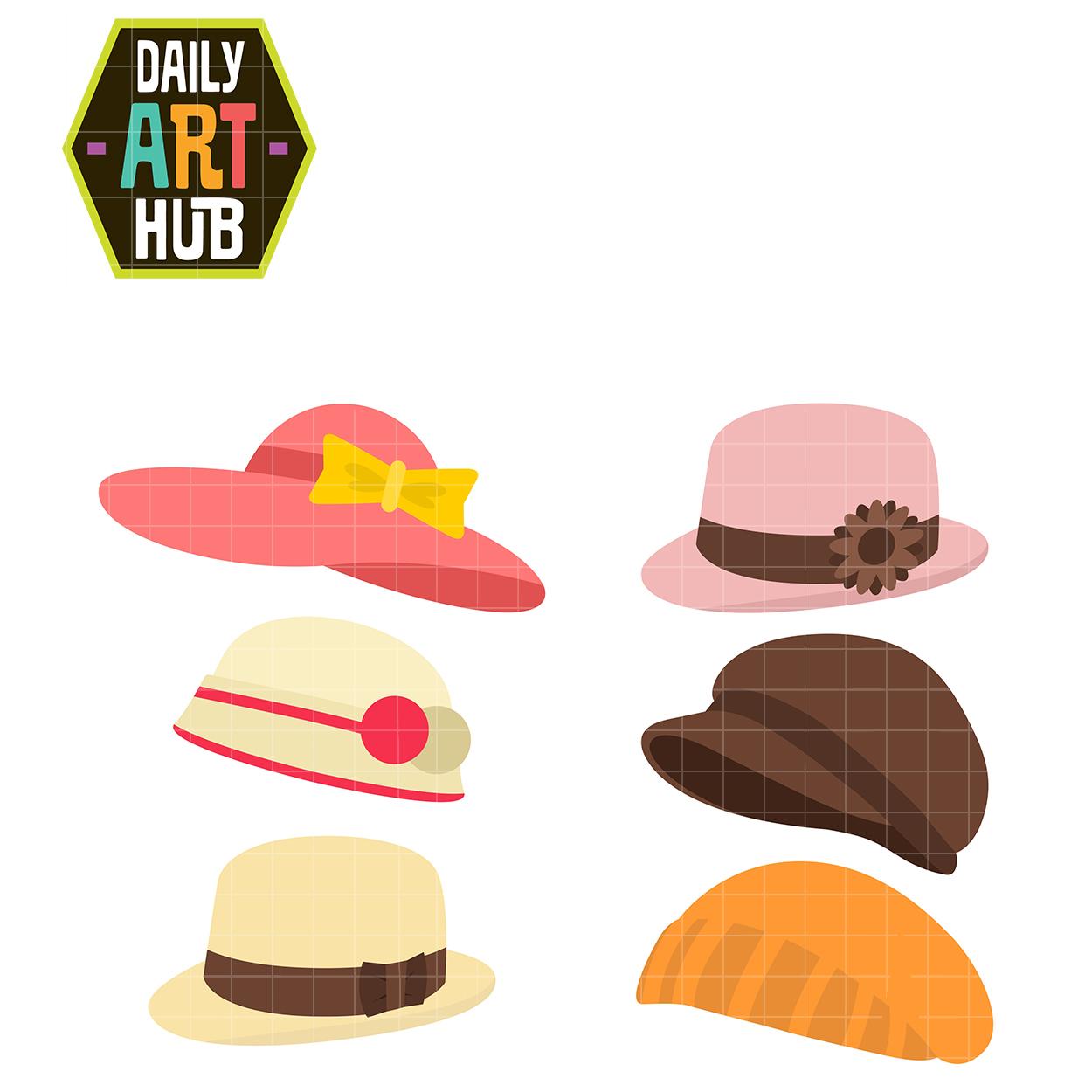 Hats clip art set. Girly clipart hat