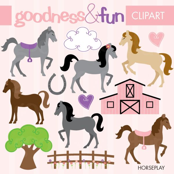 Horseplay silhouettes clip art. Girly clipart horse