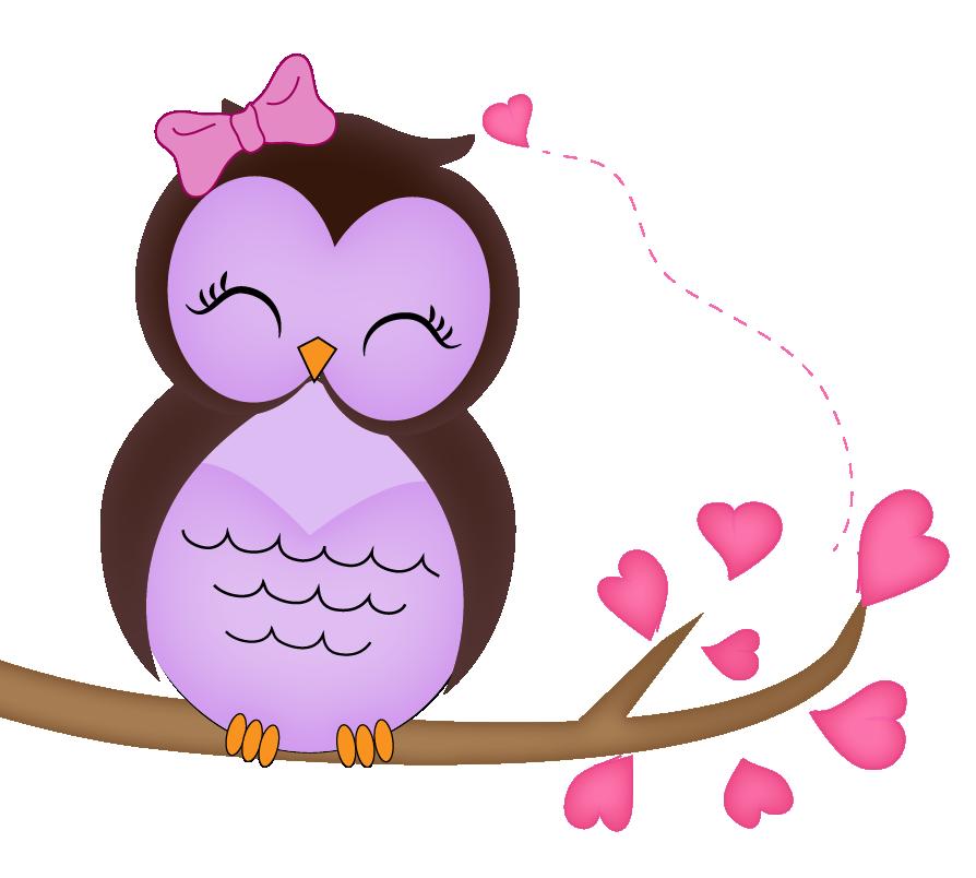 Coruja no galho de. Girly clipart owl
