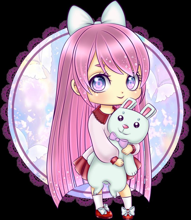 Pink kawaii girl bunny. Girly clipart pastel