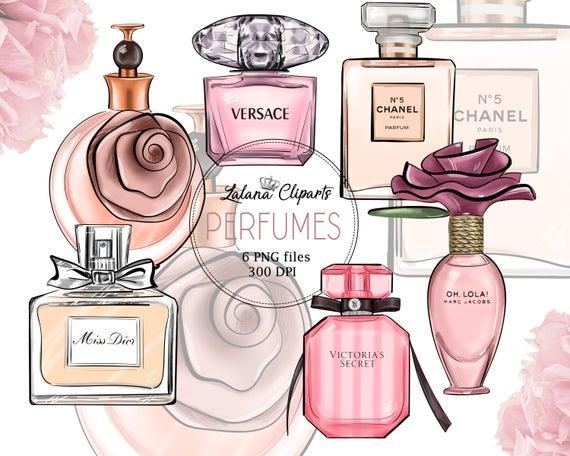 Illustration beauty planner clip. Perfume clipart fashion item