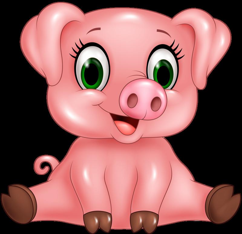 Funny cartoon animals vector. Girly clipart pig