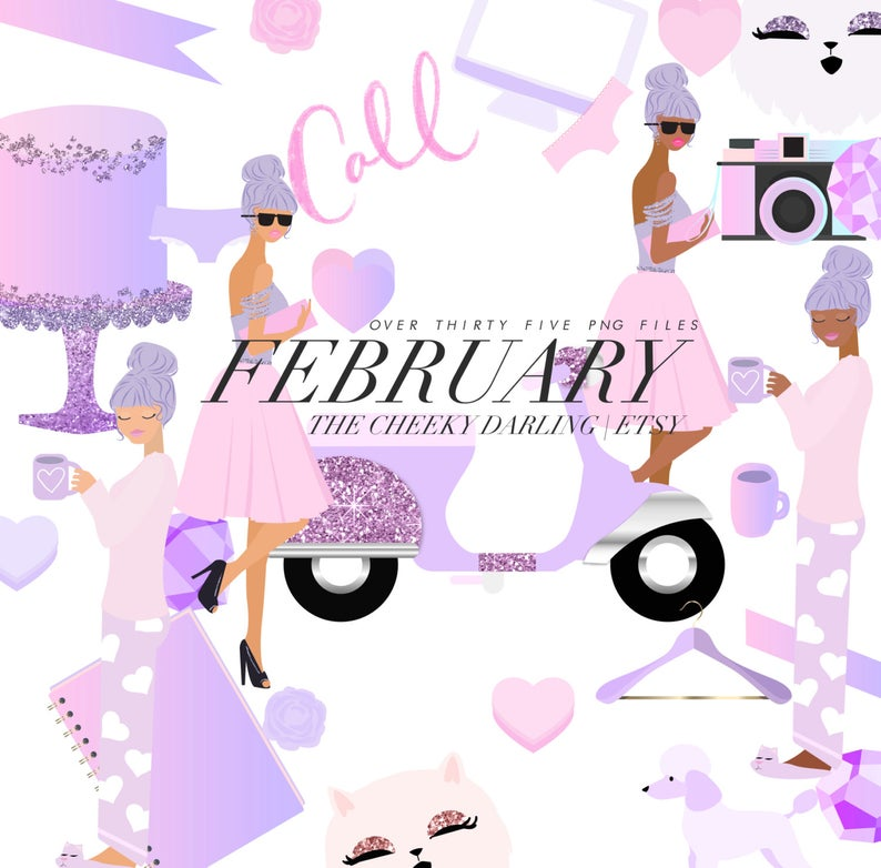 Cute pink valentine and. Girly clipart purple