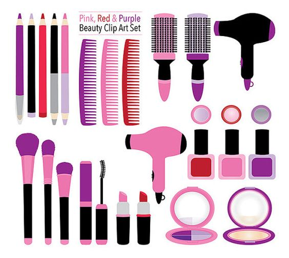 Girly clipart purple. Makeup beauty pink