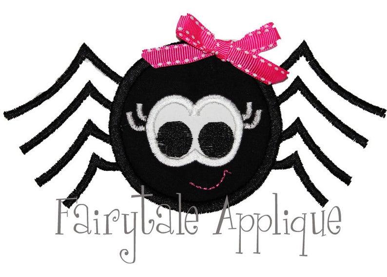 Digital machine embroidery design. Girly clipart spider