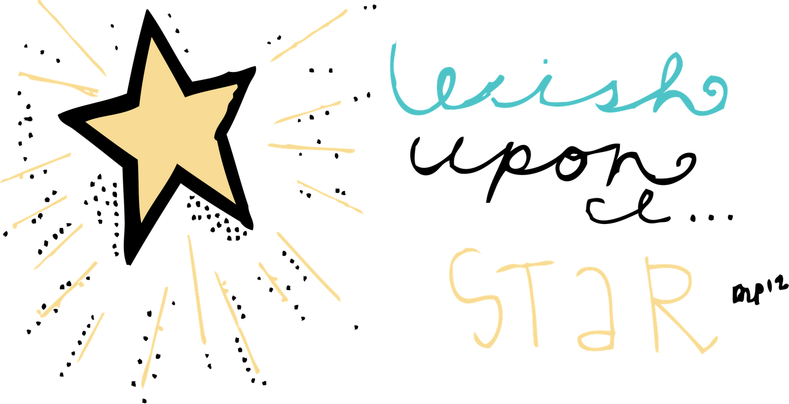 Wish upon a . Handwriting clipart star