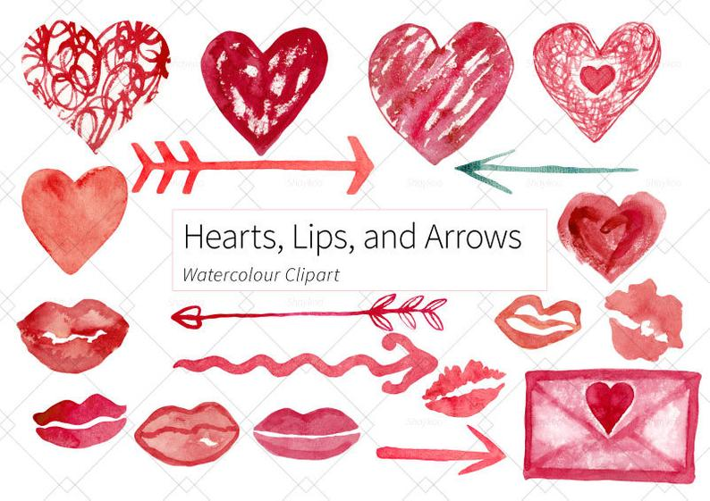 Girly clipart valentine. Papercraft hearts cardmaking lips