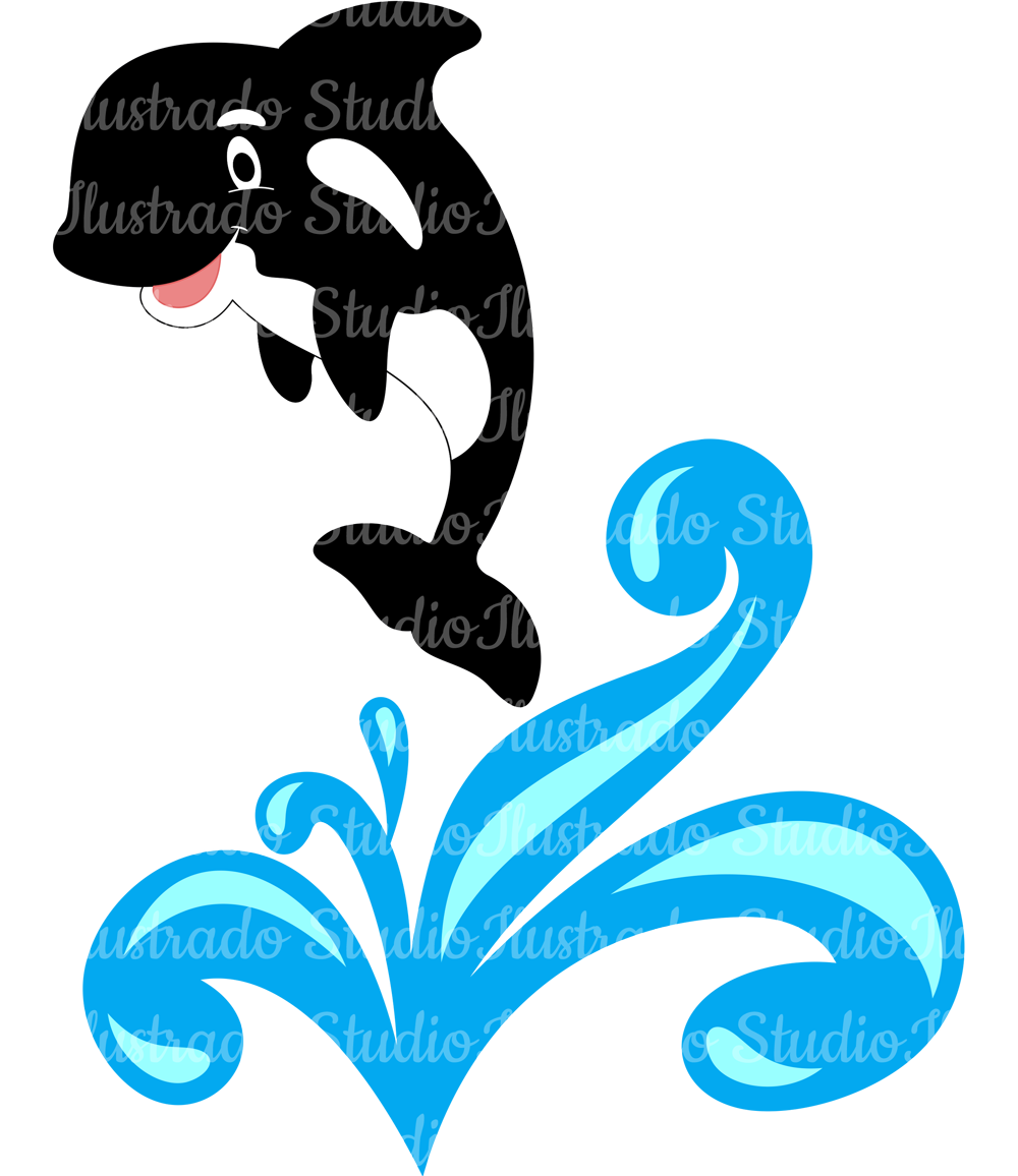 Silhouette regular cut orca. Girly clipart whale