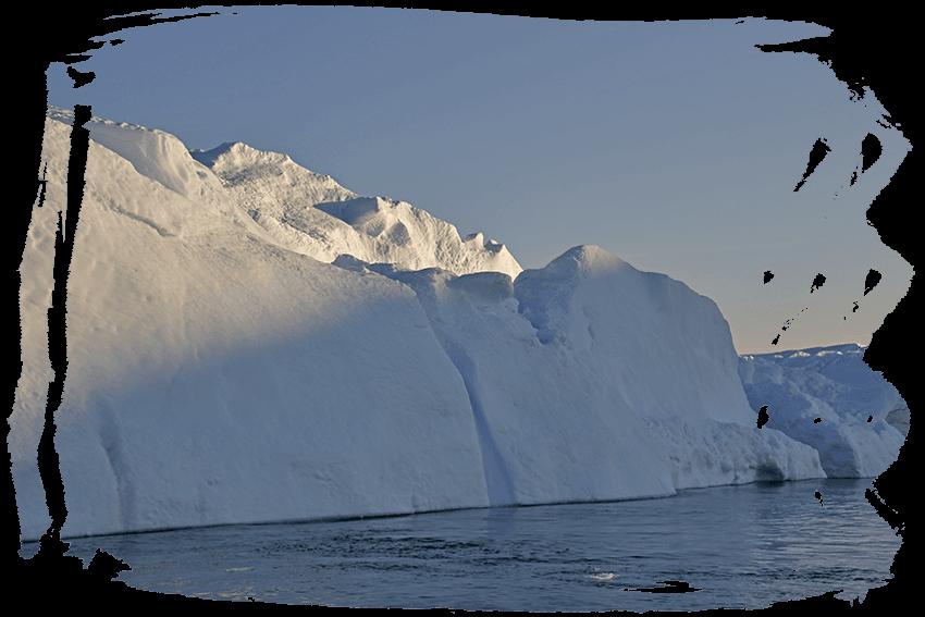 Glacier clipart ice cap. Greenland midnight sailing among