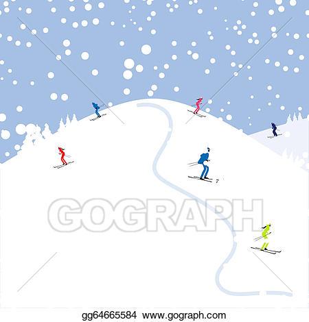 Vector stock people winter. Glacier clipart mountain skiing