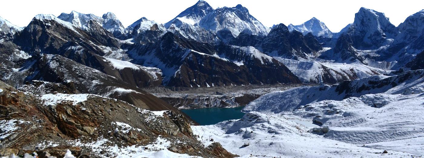 Trek to nepal himalaya. Glacier clipart mountain top