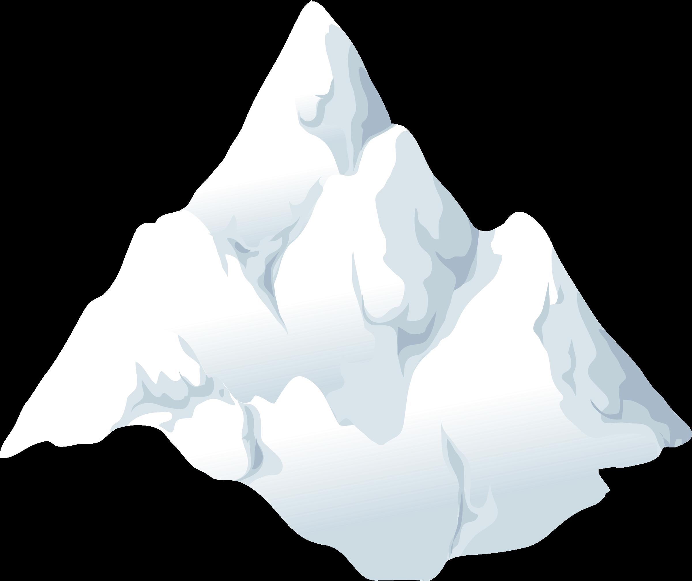 Alpine landscape cone top. Glacier clipart snow mountain