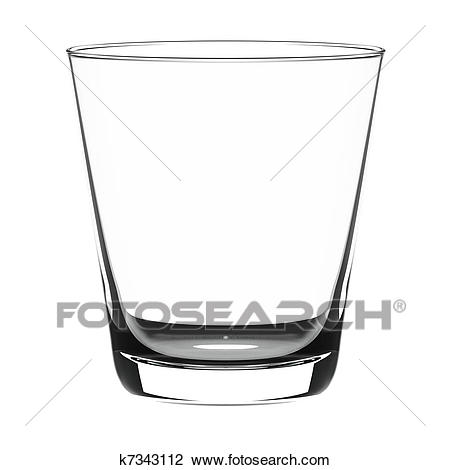 Black and white station. Glass clipart empty glass