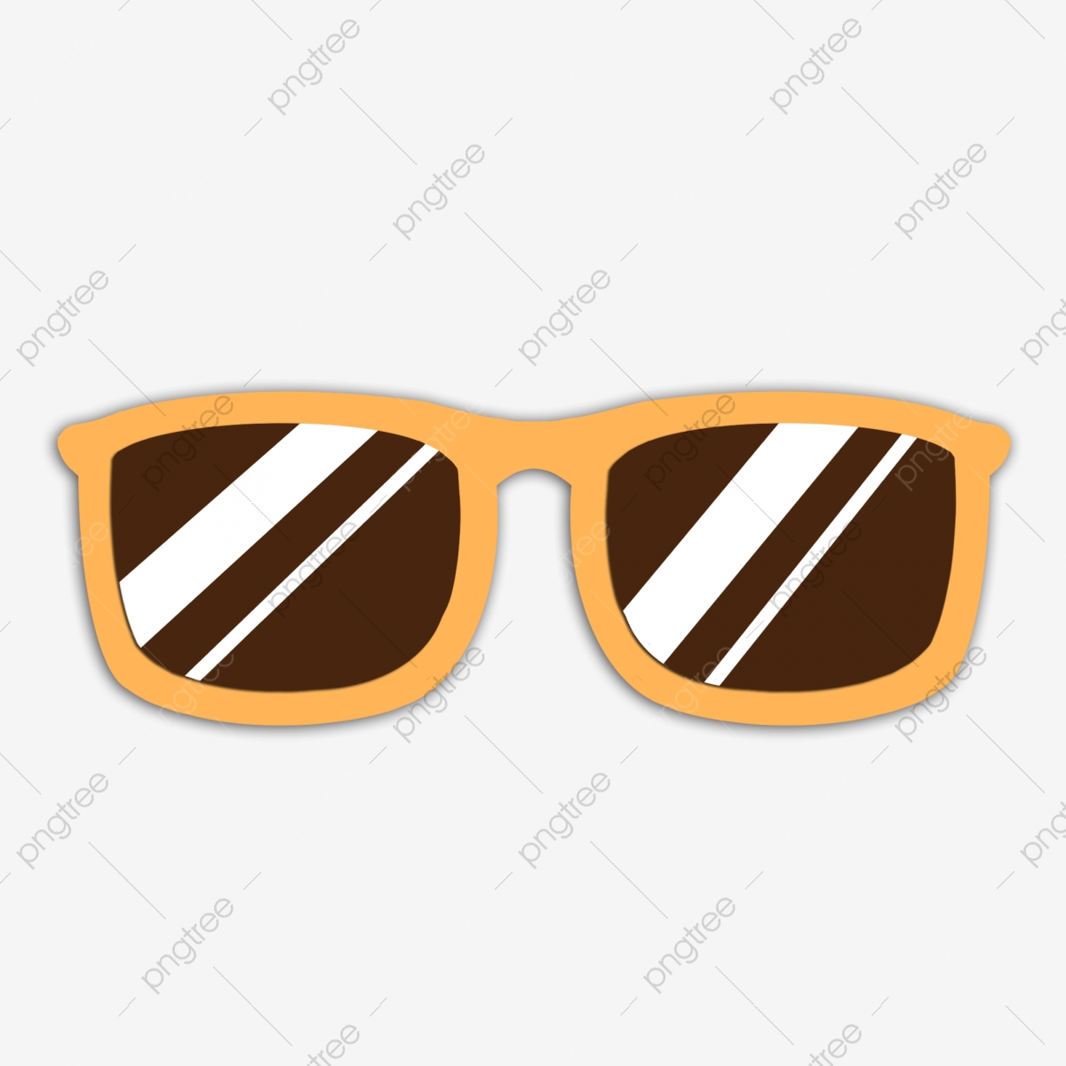 Cartoon shade yellow frame. Glasses clipart simple