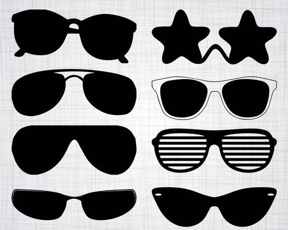 Goggles clipart silhouette. Sunglasses svg bundle cut