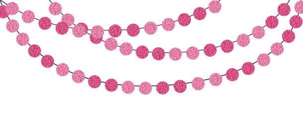 Pink bunting banner pack. Glitter clipart