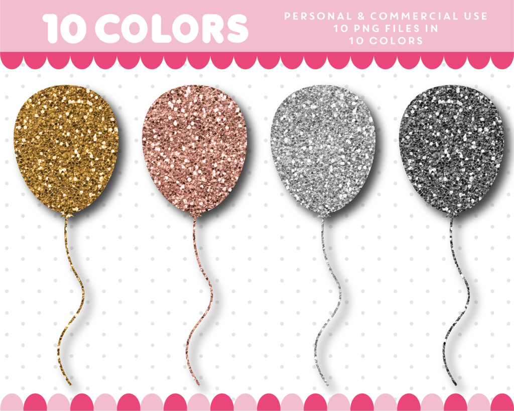 Glitter clipart. Balloon in gold and
