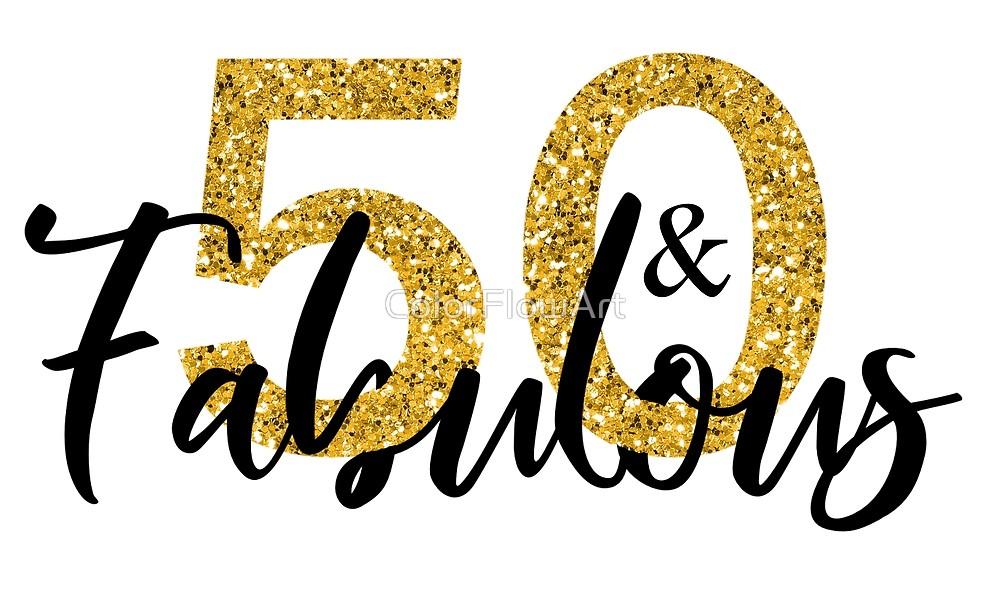 fifty and fabulous. Glitter clipart 50 gold
