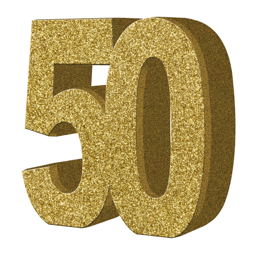 Number table decoration . Glitter clipart 50 gold